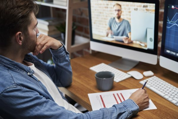 Man has education training online